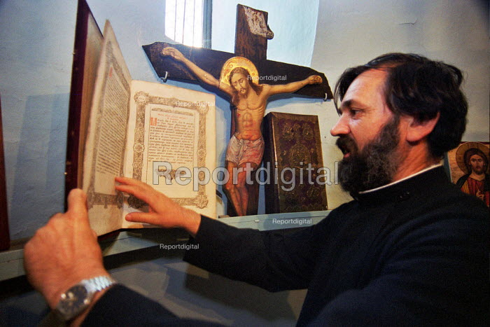 Serb Orthodox priest of Saint Nicholas Church in Pristina. The church is regularly a target of Albanian extremists, who have damaged the church with hand granades and stones. The Church has not had a congregation since most of the Serb population have departed Pristina. Kosovo 2003 - Andrija Ilic - 2003-07-01