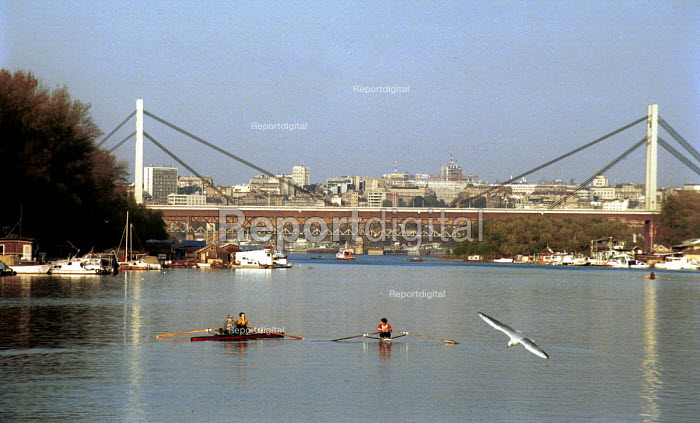View of Belgrade from the river Sava. Belgrade, Serbia 2004 - Andrija Ilic - 2004-06-22
