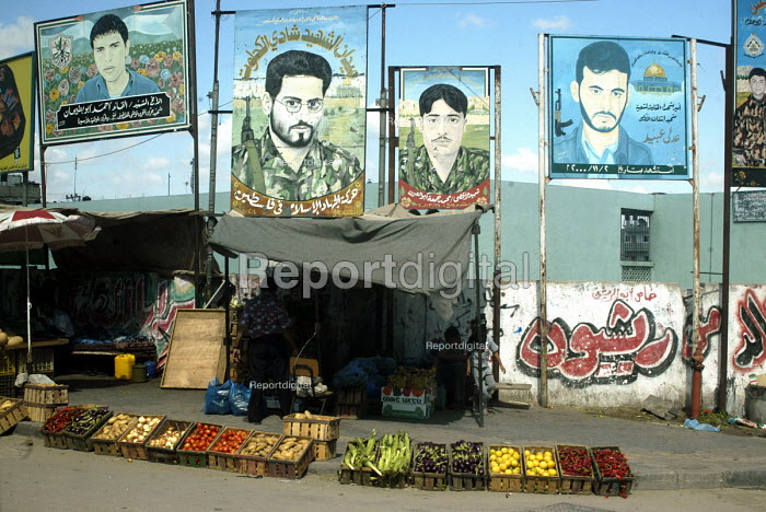 Street fruit market with posters of Palestinian militants, Gaza City, Gaza 2005 - Andrija Ilic - 2005-07-05