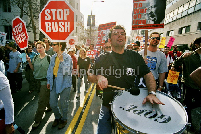 Protest against the US war on Iraq, downtown Los Angeles, attended by 50,000 people. . Los Angeles, USA 2003 - Andrija Ilic - 2003-05-07