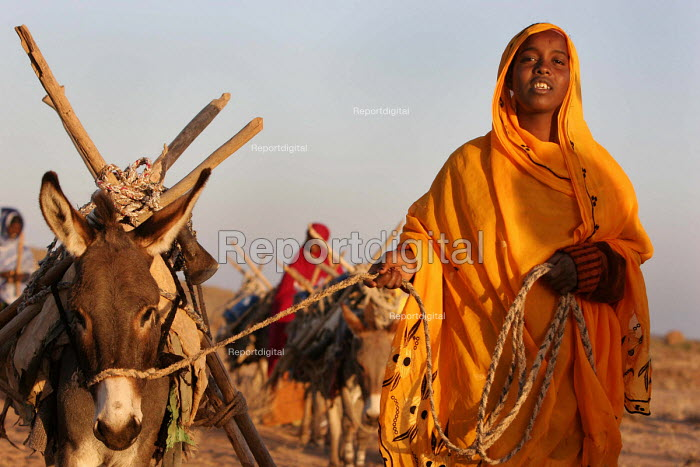 Somali refugees walk long distances to collect firewood as the immediate area has been deforestated. Aisha refugee camp, Ethiopia 2005 - Boris Heger - 2005-09-06
