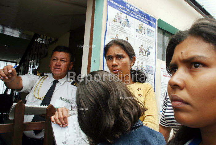 Colombian asylum seekers registering to become refugees at the UNHCR offices having fled the conflict in their homeland. Ibarra, Ecuador 2004 - Boris Heger - 2004-09-01