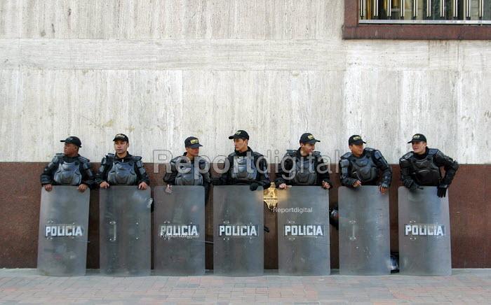 Riot police on patrol during social protest in Bogota. Colombia 2004 - Boris Heger - 2004-09-01