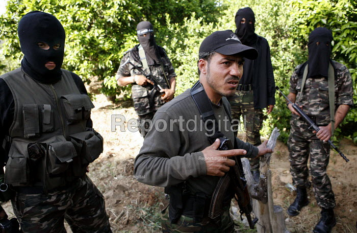 Al-Aqsa brigade leader Abu Saqer with militants in Gaza - one of the most wanted Palestinian fighters by Israel. They are regularly targeted by Israel and have lost many men in attacks. - Thomas Morley - 2006-04-08
