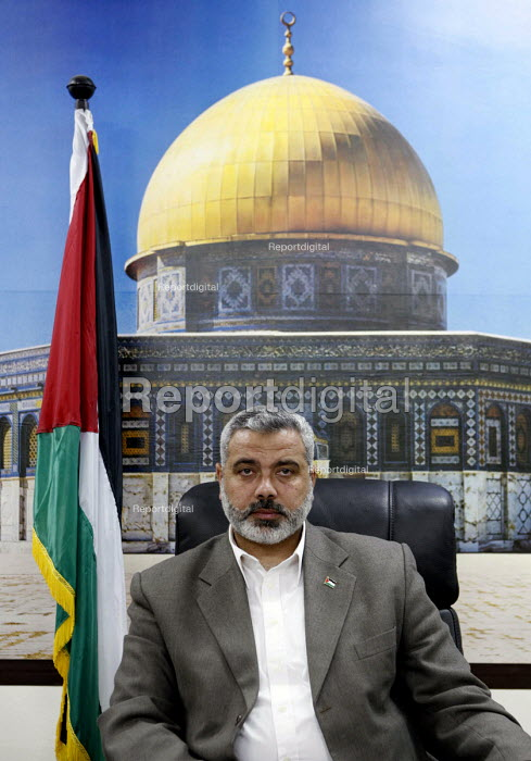 The Palestinian Hamas Prime Minister Ismail Haniya in his office with a back drop of the Dome Of The Rock. Gaza 2006 - Thomas Morley - 2006-04-19