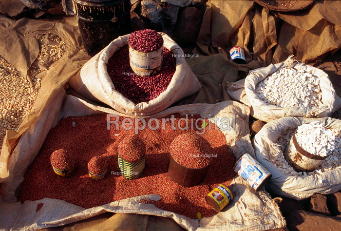Beans and pulses on sale in market, Kisumu. Kenya. 2000 - Howard Davies - 2000-05-03