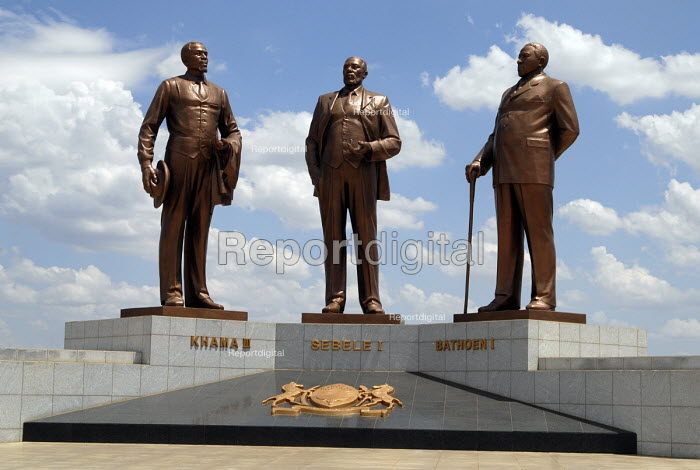 Statue in Gaborone, commemorating the three traditonal Chiefs - Khama, Sebele and Bathoen. Who are credited with securing the land which was later established as modern day Botswana. - Howard Davies - 2006-10-31
