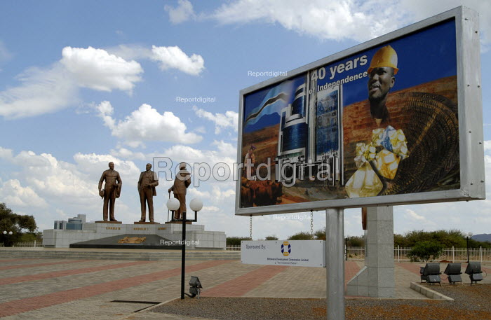 An Independence poster, at a memorial in Gaborone which commemorates the traditonal Chiefs. Who are credited with securing the land which was later established as modern day Botswana. - Howard Davies - 2006-10-31