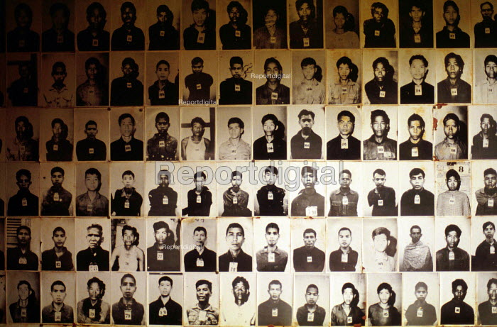 Tuol Sleng Genocide Museum, Photographs of Cambodian prisoners taken by Khmer Rouge before execution, Phnom Penh, Cambodia, 1992 - Howard Davies - 1992-05-03