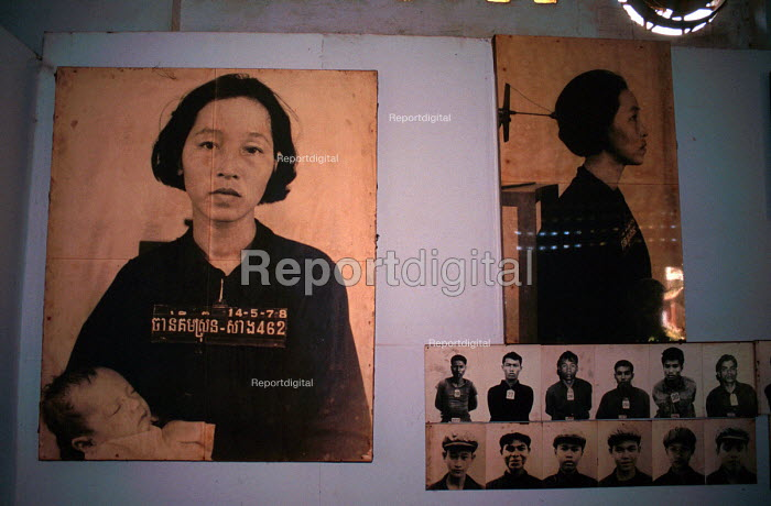 Tuol Sleng Genocide Museum, Photographs of Cambodian prisoners taken by Khmer Rouge before execution, Phnom Penh, Cambodia, 1992 - Howard Davies - 1993-05-03