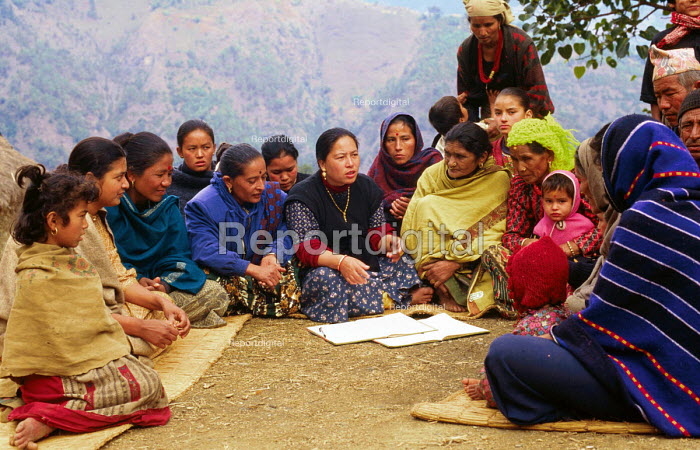 Womens co-operative meeting, part of a rural development programme supported by SCF. Baglung district, Nepal. 1997 - Howard Davies - 1997-05-03