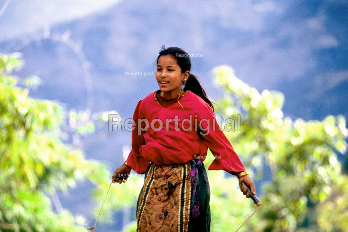 Nepalese child in a village development project supported by SCF. Baglung district, Nepal. 1997 - Howard Davies - 1997-05-03