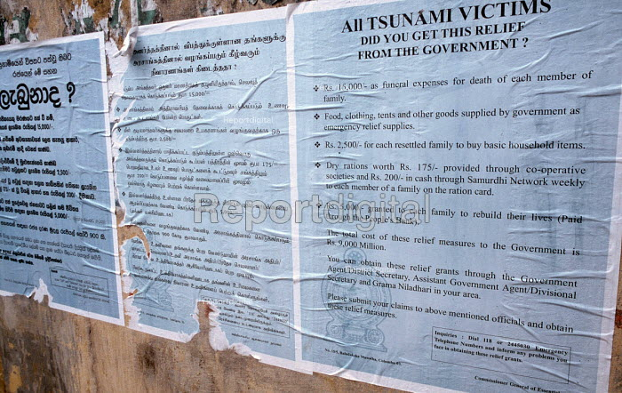 Government posters giving details of the compensation available to survivors of the Tsunami outside a displaced peoples camp in Akkaraipattu. Sri Lanka 2005 - Howard Davies - 2005-03-05