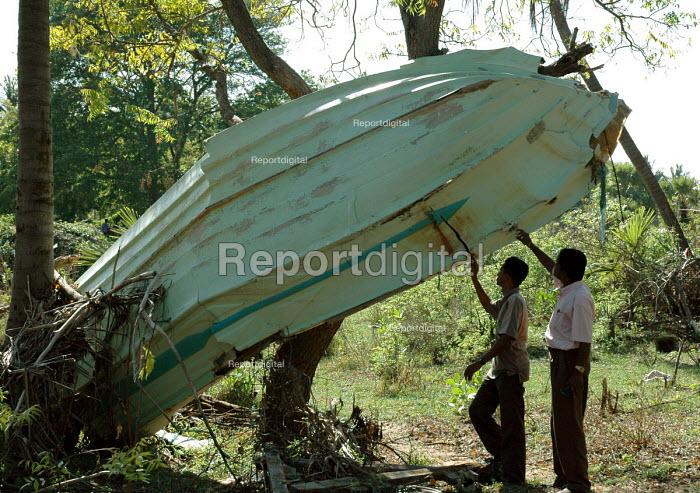 A fishing boat caught in a tree having been washed several hundred metres inland by the Tsunami, Bahara, Batticaloa district, Sri Lanka 2005 - Howard Davies - 2005-03-05