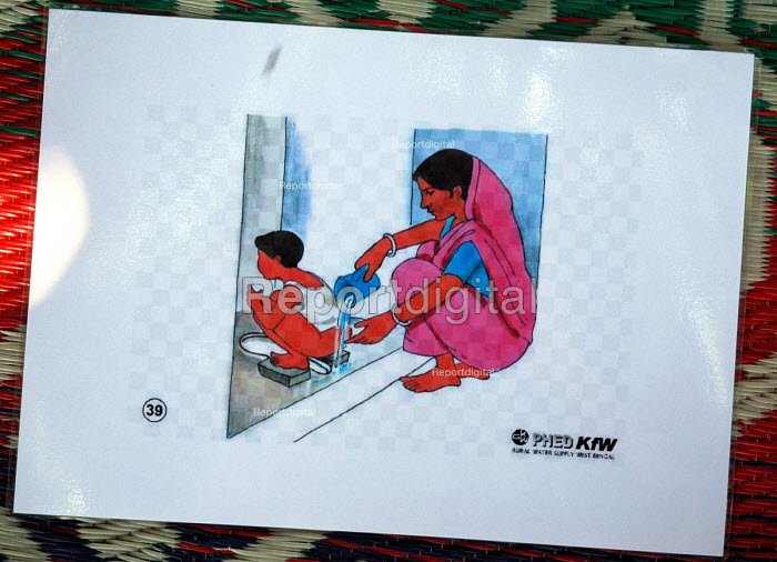 Visual guides used by public health trainers with a local NGO supported by Oxfam to teach volunteers who have been displaced by the Tsunami and are living in an IDP camp in hygiene education. Batticaloa, Sri Lanka 2005 - Howard Davies - 2005-03-05