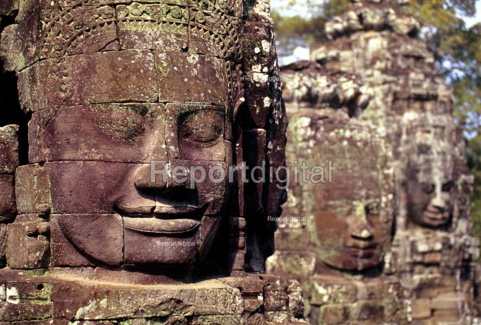 View of carved faces at the Bayonm, in Angkor Wat. - Howard Davies - 2001-05-03