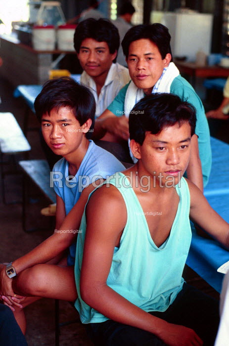 Cambodian refugees (who were rescued by the Australian navy) at a detention centre, until their asylum applications have been processed. - Howard Davies - 1990-05-03