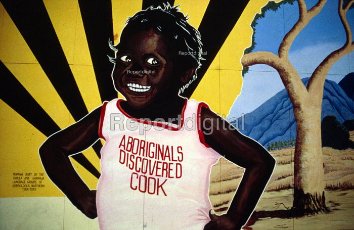 Aboriginal mural protesting against racism, Adelaide, Australia. Aboriginals discovered Cook. To Australian Aborigines it is wrong to suggest that Captain James Cook or any other European discovered Australia - Howard Davies - 1985-05-03