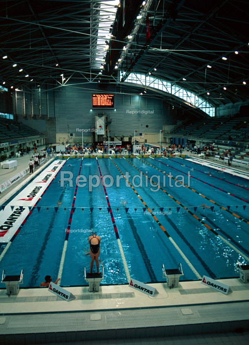 Competition pool hall, at the Sydney Olympic Park Aquatic Centre. - Howard Davies - 1999-05-03