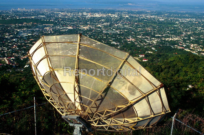 Communications satellite dish, Kingston. - Howard Davies - 1997-08-03