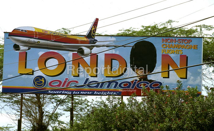 Advertising board for the airline Air Jamaica. - Howard Davies - 1997-08-03