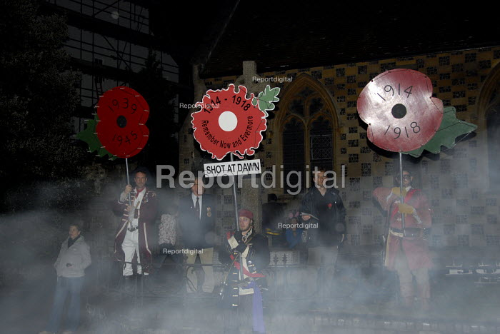 Remembrance memorial for those soldiers shot at dawn after being accused of cowardice during the First World as part of the traditional bonfire night parade in Lewes, East Sussex, UK 2008 - Howard Davies - 2008-11-05