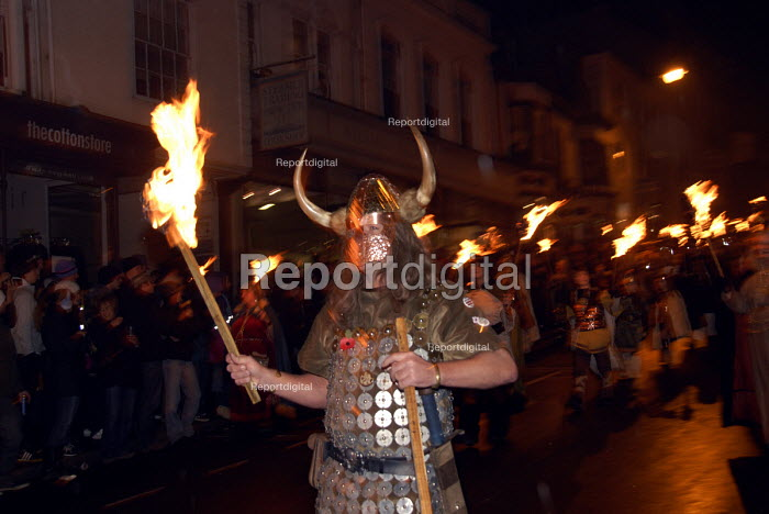 A viking on the traditional bonfire night parade in Lewes, East Sussex, commemorating Guy Fawkes and the Gunpowder Plot. UK 2008 - Howard Davies - 2008-11-05