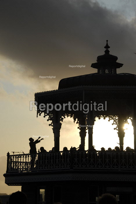 The Western Bandstand in Brighton sees its first public performance since 1974 after extensive renovation to the Grade II Victorian Bandstand originally completed in 1884. Brighton, UK 2009 - Howard Davies - 2009-07-24
