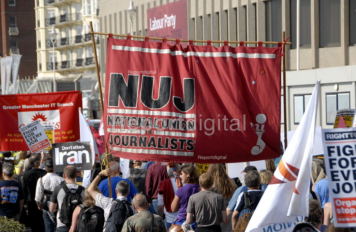 Trade Unions including NUJ in protest for jobs at Labour Party Conference in Brighton , UK 2009 - Howard Davies - 2009-09-27