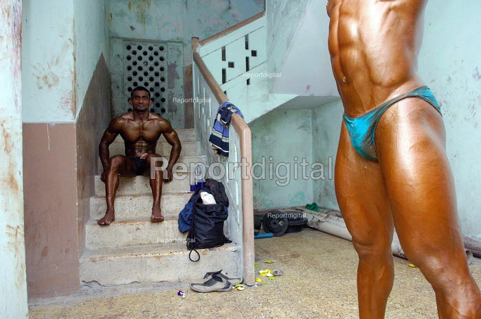 Mr. India competition held in Hyderabad, India. In an increasingly body conscious society, bodybuilding is the fastest growing sport in India amongst young men. Steroid use is rife in the sport. - Tom Parker - 2007-02-10