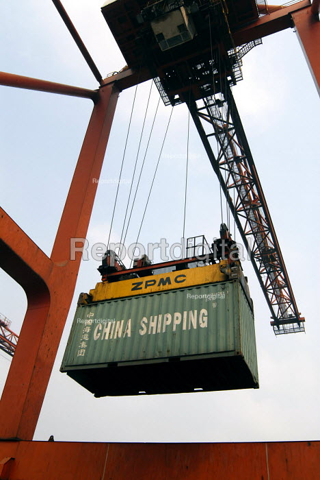 A container getting shipped at the Shanghai China Shipping Terminal in Pudong, Shanghai - Timm Sonnenschein - 2006-08-15