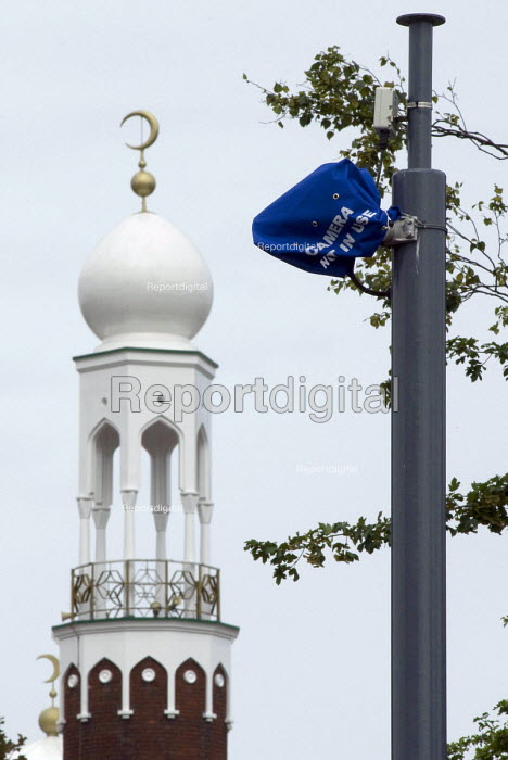 Bagged up ANPR surveillance �cameras near the Birmingham Central Mosque installed to monitor vehicles entering and leaving Birmingham areas with a high �Muslim population. The anti terrorist scheme is under criticism and they are currently switched of whilst a public investigation takes place. - Timm Sonnenschein - 2010-07-04
