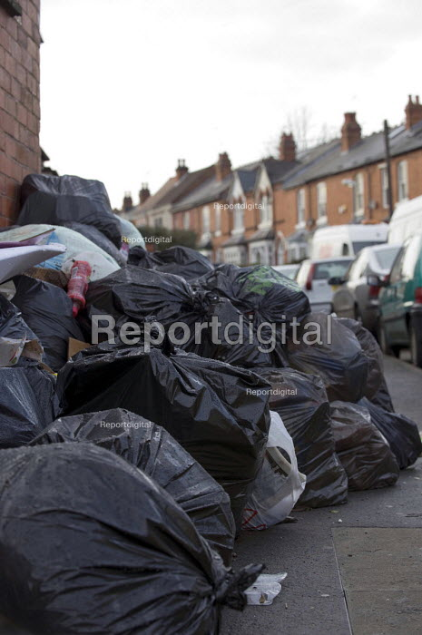 Backlog of rubbish in Birmingham streets piled up as refuse collectors work to rule since 22 December after a one day strike over 4000 pay cuts. - Timm Sonnenschein - 2011-01-06