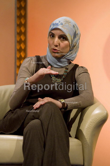 Salma Yaqoob, leader of the Respect Party and Councillor, BBC1 faith and ethics TV programme The Big Questions broadcasted from Handsworth, Birmingham - Timm Sonnenschein - 2011-02-27