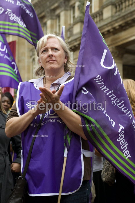 UNISON branch sec Caroline Johnson protests on the national joint union strike day for fair pensions, Birmingham - Timm Sonnenschein - 2011-06-30