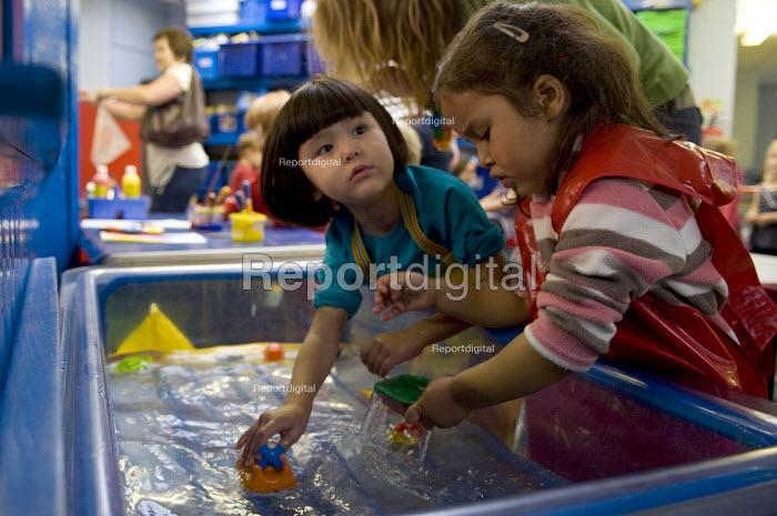 Two girls during their first day at Reception, Kings Heath Primary School. - Timm Sonnenschein - 2011-09-05