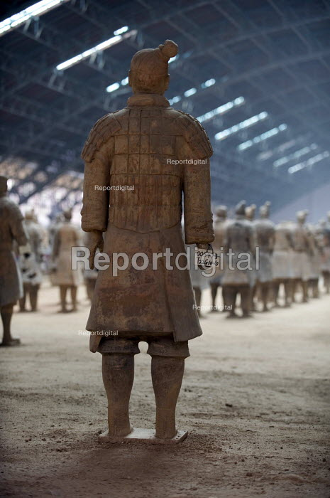 Terracotta warriors depicting the armies of Qin Shi Huang the first emperor of China. It is a form of funerary art buried with the emperor in his tomb in 210-209 BC and whose purpose was to protect the emperor in his afterlife. Xian China - Timm Sonnenschein - 2011-08-03
