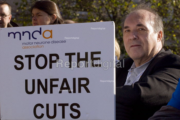MNDA Motor Neurone Disease Association, Stop the unfair cuts. The Hardest Hit rally, disabled people protest against government cuts, Victoria Square, Birmingham - Timm Sonnenschein - 2011-10-22