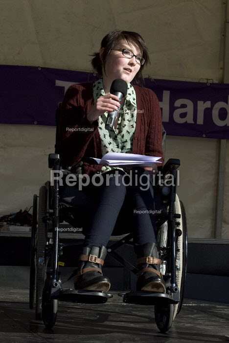 Kathryn Cartwright, who has leukaemia, speaks during the The Hardest Hit disabled people protest against government cuts, Victoria Square, Birmingham - Timm Sonnenschein - 2011-10-22