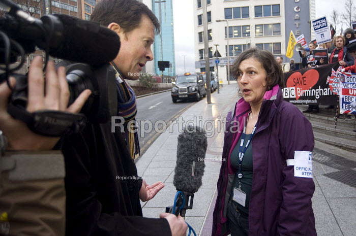 Anna Murray BECTU speaking to Midlands Today TV, BBC Birmingham members on strike against job losses and for the future of BBC Birmingham - Timm Sonnenschein - 2012-01-18