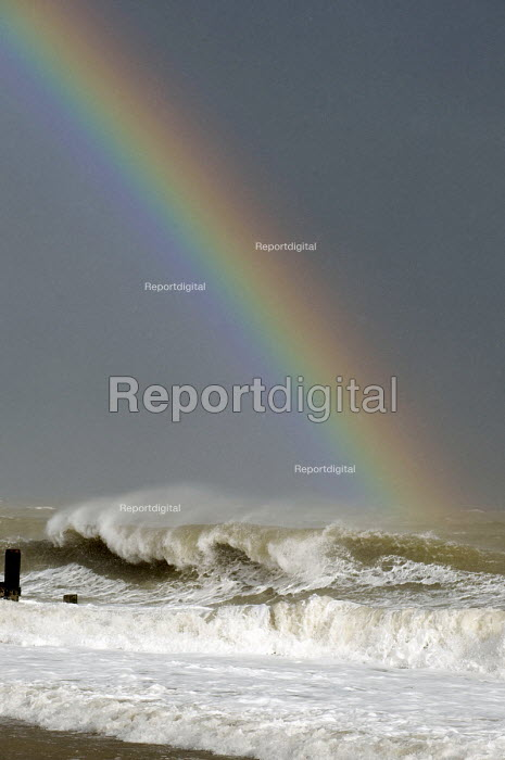A Rainbow above the waves of the North Sea, Winterton on Sea, Norfolk, East Anglia - Timm Sonnenschein - 2012-02-15