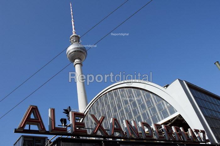 Fernsehturm TV Tower Alex and Alexanderplatz station, Berlin, tallest structure in Germany - Timm Sonnenschein - 2012-09-03