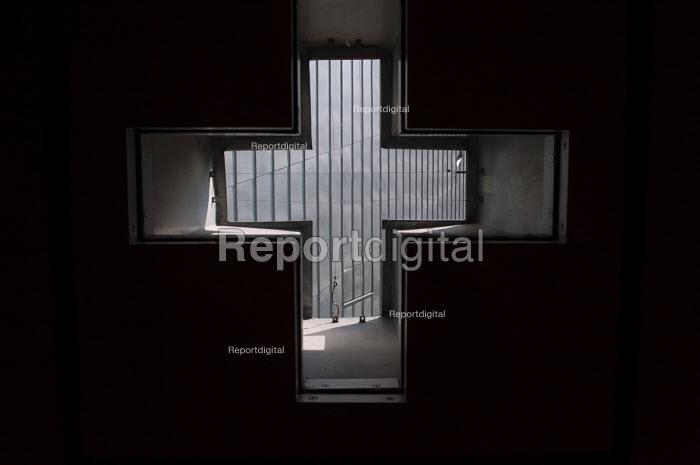Cross window, Jewish museum designed by architect Daniel Libeskind, Berlin Germany - Timm Sonnenschein - 2012-08-29