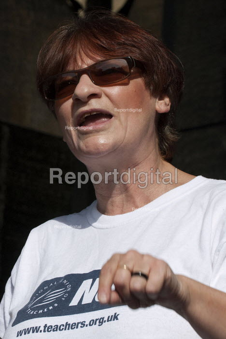 Christine Blower NUT, �gen sec, �speaking at the �TUC March for a Future that Works during the Conservative Party conference, Birmingham - Timm Sonnenschein - 2012-10-07