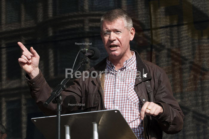 Gerard Coyne, Unite Midlands regional sec, speaking at the �TUC March for a Future that Works during the Conservative Party conference, Birmingham - Timm Sonnenschein - 2012-10-07