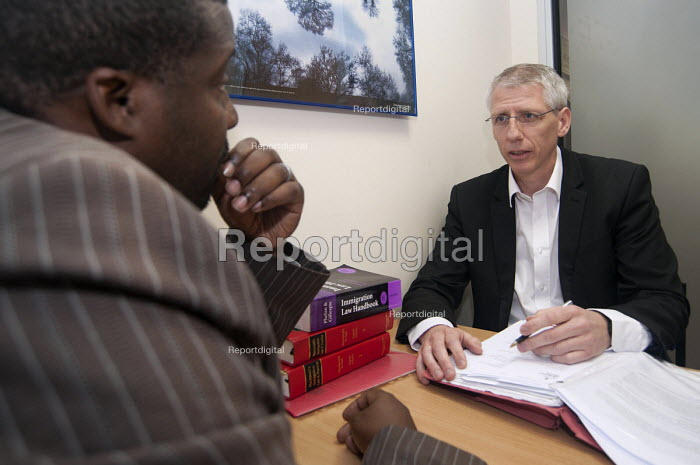 Specialist immigration solicitor Sean Mcloughlin of TRP Solicitors, Birmingham advising an African client on his case under the legal aid scheme. - Timm Sonnenschein - 2012-10-08