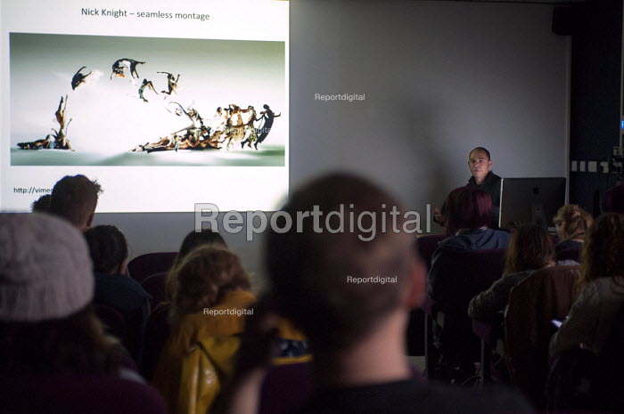 A tutor lecturing BA students on photomontage, one by Nick Knight. Photography lecture at Birmingham City University - Timm Sonnenschein - 2012-10-23