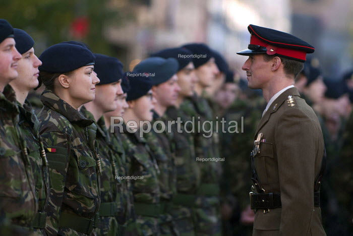 Royal Marine officer checking uniforms of soldiers gathering on Broad Street for the Remembrance Day parade, Birmingham - Timm Sonnenschein - 2012-11-11