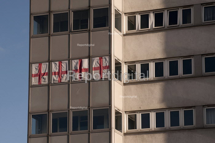 Four St George's flags hung from the windows of high rise council flats, Birmingham - Timm Sonnenschein - 2013-02-02