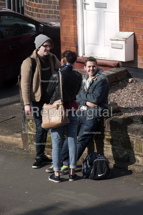 Youth in the street chatting and smoking, Kings Heath, Birmingham - Timm Sonnenschein - 2013-03-05